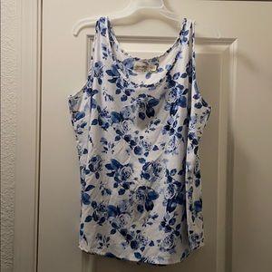 Beautiful XL blue floral dressy tank top.
